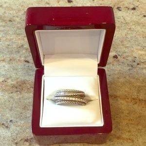David Yurman Wide Crossover Ring with Diamonds